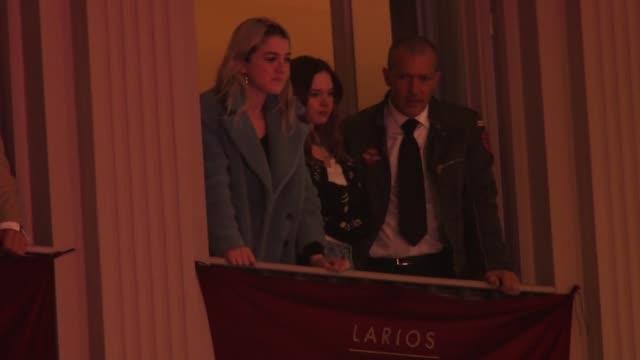 Antonio Banderas his daughter Stella del Carmen Banderas and Nicole Kimpel take part in the 'Lagrimas y Favores' brotherhood