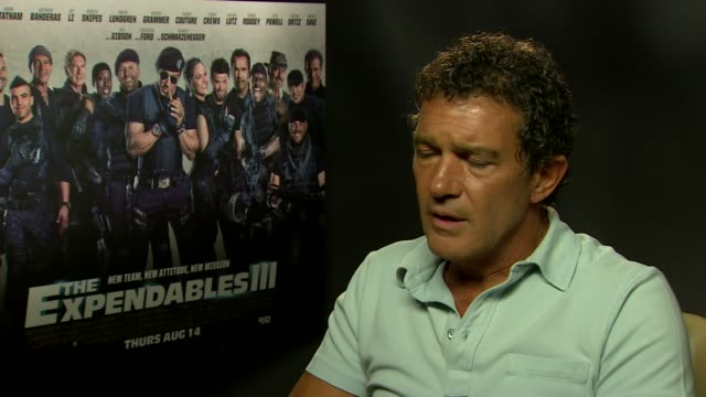 interview antonio banderas on his career how the franchise is growing at 'the expendables 3' interviews at corinthia hotel london on august 04 2014... - franchising stock-videos und b-roll-filmmaterial