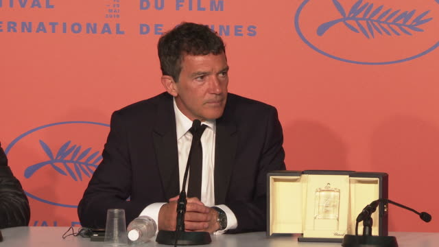 INTERVIEW Antonio Banderas on why the Jury picked him at Closing Ceremony Press Conference ' The 72nd Cannes Film Festival on May 25 2019 in Cannes...