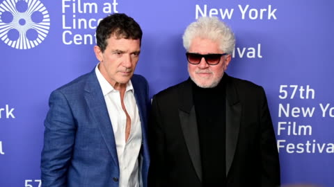 """antonio banderas & pedro almodóvar at the 57th new york film festival - """"pain and glory"""" - arrivals at alice tully hall, lincoln center on september... - antonio banderas video stock e b–roll"""