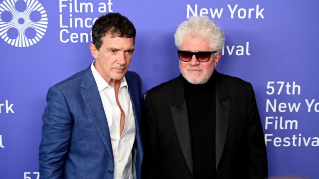 antonio banderas pedro almodóvar at the 57th new york film festival pain and glory arrivals at alice tully hall lincoln center on september 28 2019... - antonio banderas stock videos & royalty-free footage