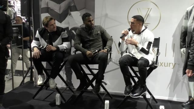 INTERVIEW Antonio Brown Jason Derulo Justin Berkowitz at the Launch Of LVL XIII Men's Luxury Wear at Bloomingdale's on October 08 2017 in Century...