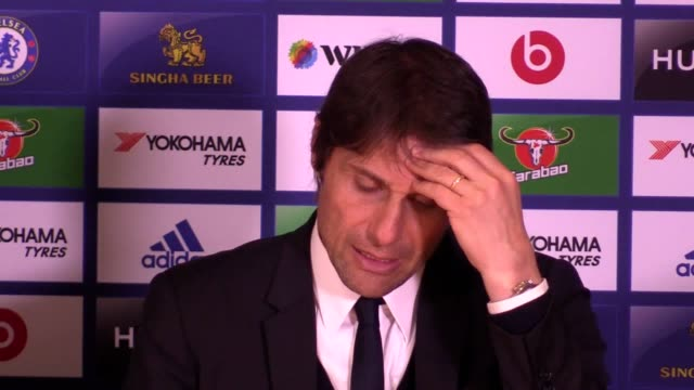 antonio conte's postmatch press conference following chelsea's 30 victory over middlesbrough at stamford bridge - middlesbrough stock videos and b-roll footage