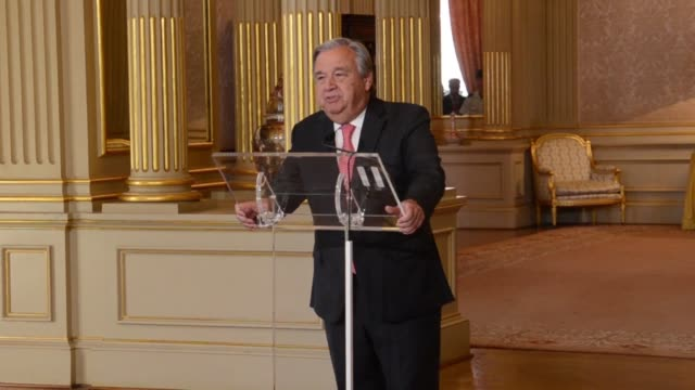 antonio guterres the former prime minister of portugal and former un high commissioner for refugees expresses gratitude and humility after being... - humility stock videos and b-roll footage