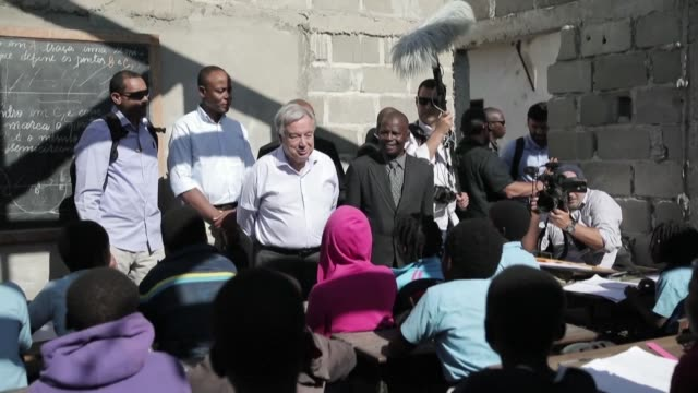 Antonio Guterres the United Nations Secretary General visits cyclone damaged areas of the city of Beira meeting young students that have to study in...
