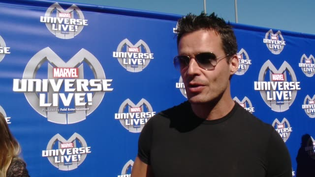 antonio sabato jr. on what he is most looking forward to seeing at marvel universe live, who his favorite superhero is and what super power he would... - antonio sabato jr. stock videos & royalty-free footage
