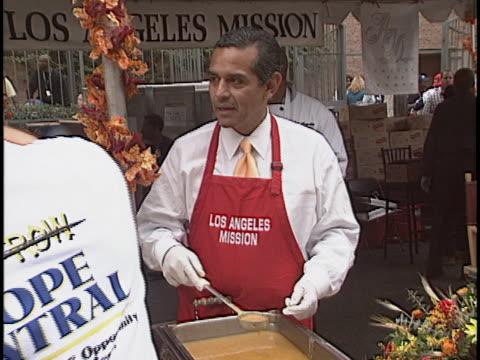 antonio villaraigosa at the los angeles mission thanksgiving at downtown los angeles in los angeles ca - antonio villaraigosa stock videos and b-roll footage
