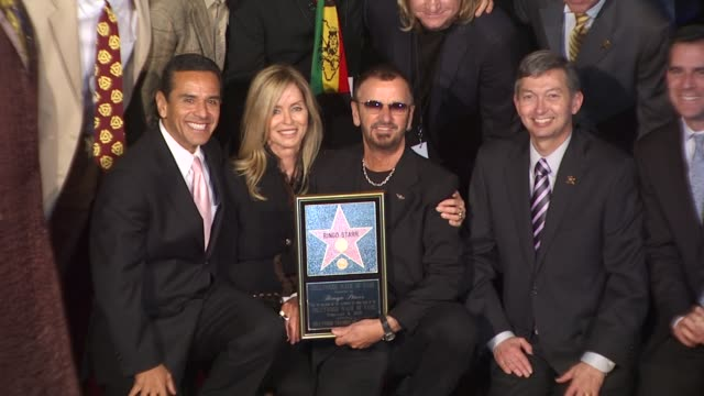 antonio villaraigosa barbara bach ringo starr at the ringo starr honored with a star on the hollywood walk of fame at hollywood ca - antonio villaraigosa stock videos and b-roll footage