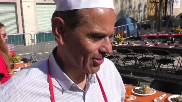 interview antonio villaraigosa on if you can protest donald trump getting elected if you did not vote while serving thanksgiving dinner to the... - antonio villaraigosa stock videos and b-roll footage