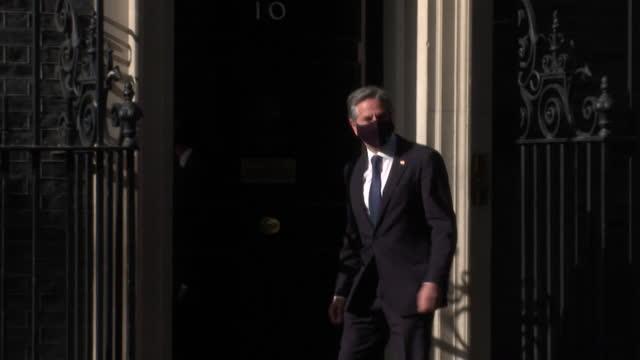 antony blinken, us secretary of state, arrives at 10 downing street to meet with prime minister boris johnson - international landmark stock videos & royalty-free footage