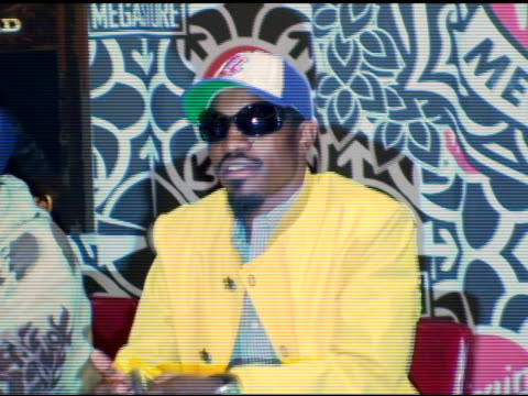 Antwan 'Big Boi' Patton and Andre '3000' Benjamin of Outkast sign autographs at the Outkast Album Signing at Virgin Megastore Times Square in New...