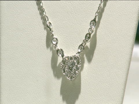antwerp diamond necklace on display - necklace stock videos & royalty-free footage
