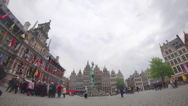 antwerp square market landmark city - markt stock videos & royalty-free footage