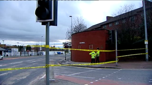 kieran stapleton denies murder on first day of trial; lib / england: greater manchester: salford: ext general view cordoned-off road outside... - stapleton stock videos & royalty-free footage