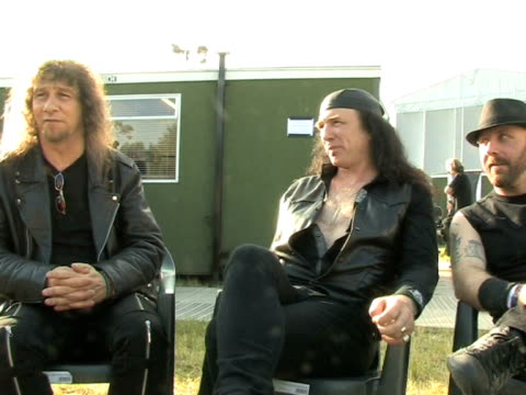 vídeos de stock e filmes b-roll de anvil - lips on getting the movie made at the download festival 2009 at derby england. - boca humana