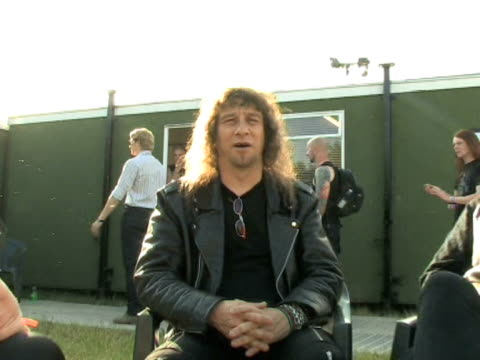 anvil lips on what they have planned for the future at the download festival 2009 at derby england - bocca umana video stock e b–roll