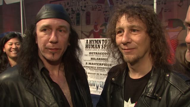 'anvil' on how the film came about what kept them going what it means to have a movie made about them at the 'anvil the story of anvil' premiere at... - anvil the story of anvil stock videos and b-roll footage