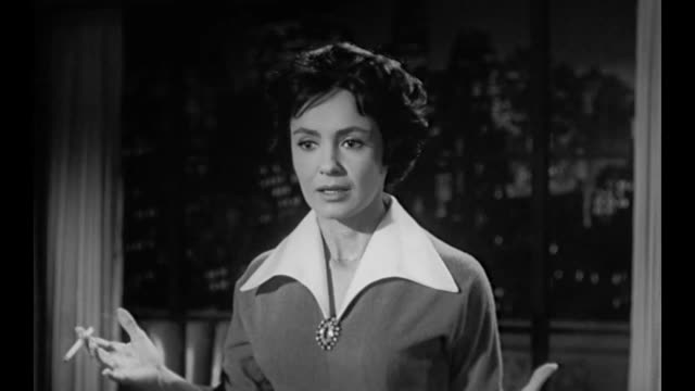 1959 anxious business owner (susan cabot) hires private detective to find missing scientist - asking stock videos & royalty-free footage