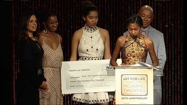 speech aoki lee simmons presents a gift to the rush foundation at russell simmons rush philanthropic arts foundation to celebrate 20th anniversary at... - bridgehampton stock videos & royalty-free footage