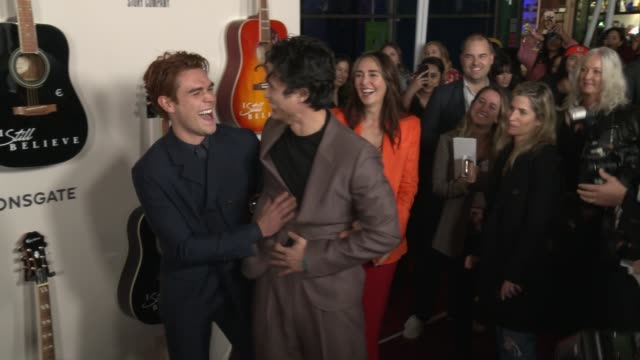 j apa and charles melton at i still believe special screening at arclight hollywood on march 07 2020 in hollywood california - gif stock videos & royalty-free footage