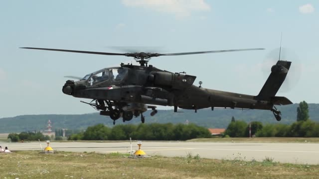 apaches from 4th combat aviation brigade, 4th infantry division arrived at illesheim army air base, germany on july 31 2018. the helicopters arrived... - operation atlantic resolve stock videos & royalty-free footage