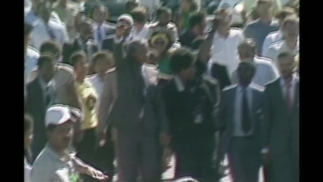 apartheid campaigners given freedom of the city of london lib south africa cape town ext various of nelson mandela with then wife winnie mandela... - releasing stock videos and b-roll footage