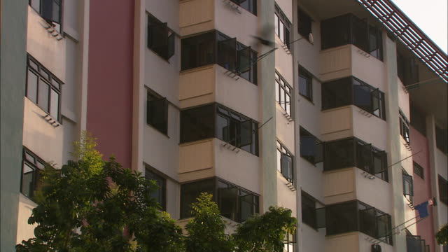 cu, tu, apartment building with laundry hanging from windows, singapore - housing development stock videos & royalty-free footage