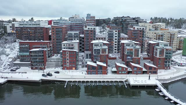 apartment buildings by the sea - group of objects stock videos & royalty-free footage