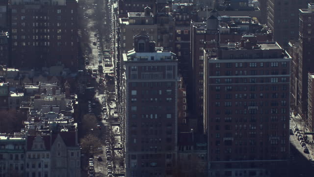 apartment buildings in the upper west side of manhattan in new york city, aerial view. - upper west side manhattan stock videos and b-roll footage