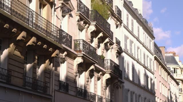 ms apartment buildings / paris, france - campo totale video stock e b–roll