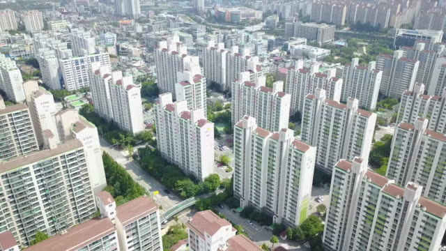 apartment complex in residential district of giheung-gu, yongin, kyonggi-do province, south korea - kyonggi do province stock videos and b-roll footage
