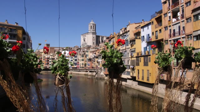 apartments and cathedral line the river in the historic centre city of girona, spain - ゼラニウム点の映像素材/bロール