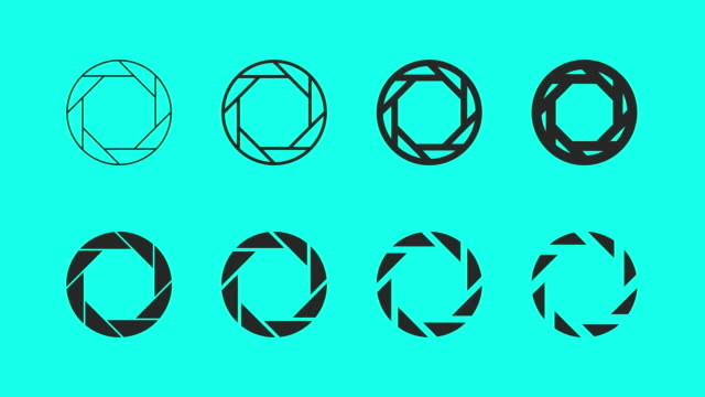 aperture icons - vector animate - shutter stock videos and b-roll footage