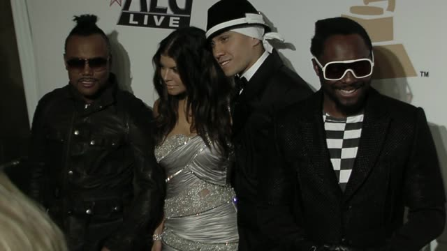 apldeap fergie taboo and william of black eyed peas at the the recording academy clive davis present the 2010 pregrammy gala at beverly hills ca - will.i.am stock videos and b-roll footage