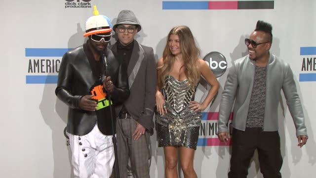 apldeap taboo fergie and william of black eyed peas at the 2010 american music awards press room at los angeles ca - the black eyed peas band stock videos and b-roll footage