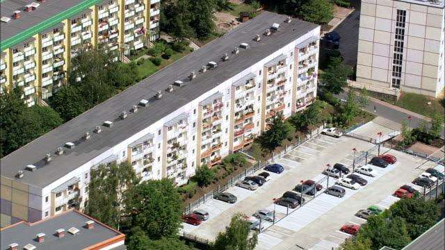 apolda and plattenbau public housing  - aerial view - thuringia,  weimarer land helicopter filming,  aerial video,  cineflex,  establishing shot,  germany - turingia video stock e b–roll