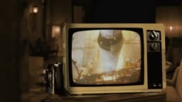 Apollo 11 Launches From Kennedy Space Center Cape Canaveral In 1969 on a Retro TV.