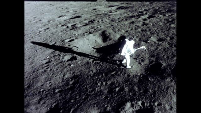 / apollo 12 astronaut working outside landing craft apollo 12 astronaut on moon surface on november 19 1969 in in space - 1969 stock videos & royalty-free footage