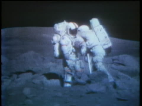 apollo 17 astronauts collect rocks from the moon's surface. - 1974 stock videos & royalty-free footage