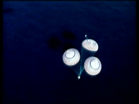 apollo 17, splashdown into ocean, high angle - splashdown stock videos and b-roll footage