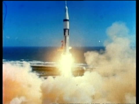 wa apollo saturn 7 lift off, cape kennedy, florida, usa - taking off stock videos and b-roll footage