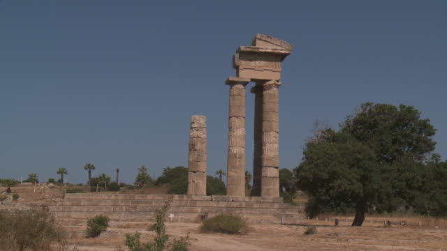 apollo temple at acropolis of rhodes - rhodes dodecanese islands stock videos & royalty-free footage