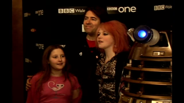 apologises for russell brand radio show prank; r21030712 london: int jonathan ross and two of his children posing with dalek at launch of doctor who... - doctor who stock videos & royalty-free footage