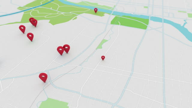 app style map with pinpoints, 4k - geographical locations stock videos & royalty-free footage