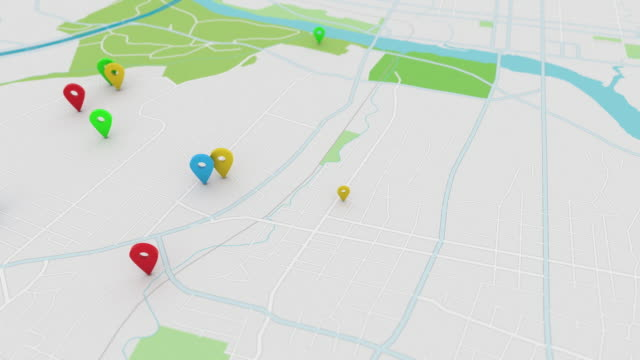 App style map with pinpoints, 4K
