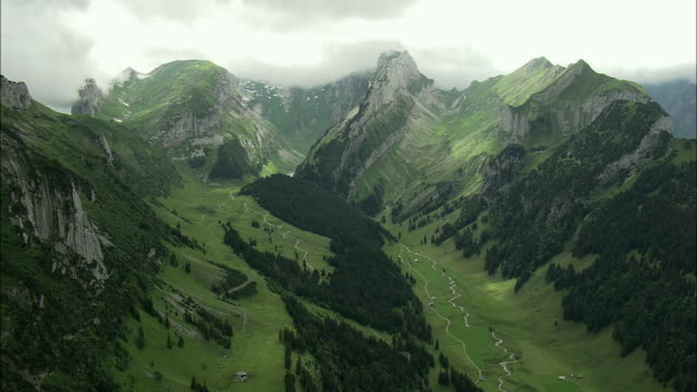 AERIAL Appenzell mountains over Rhine valley, Appenzell, Switzerland