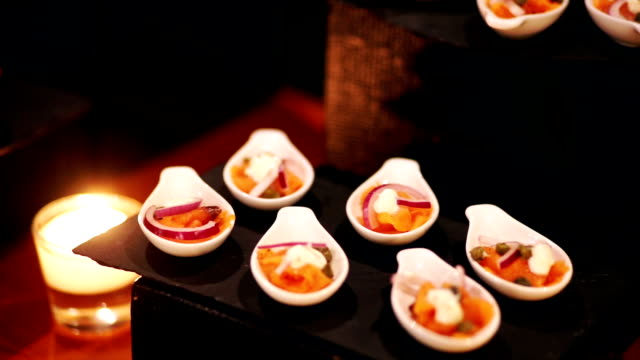 Appetizer canapes on plate for a party.