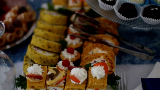 appetizers on plates ready for eat - caterer stock videos and b-roll footage