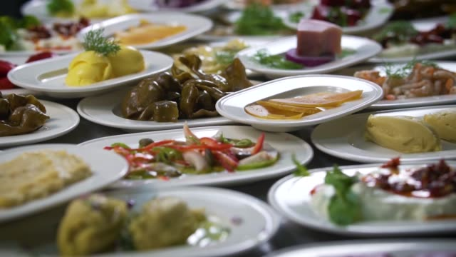appetizers. savory foods in fish restaurant. chef preparing appetizers for guests - appetizer stock videos & royalty-free footage