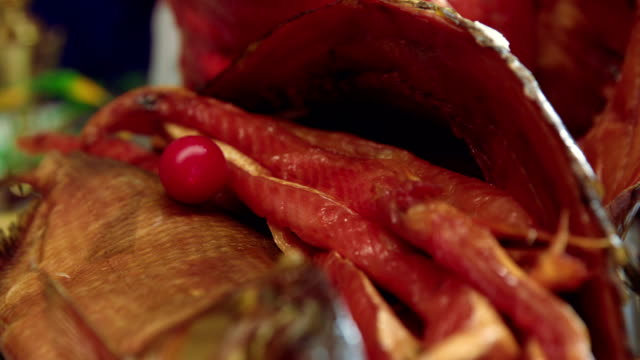 appetizing seafood plate with dried red fish - smoked food stock videos and b-roll footage
